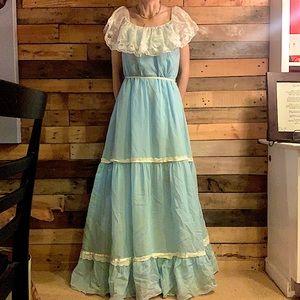 Cottage Core Vintage Prairie Blue Tier Dress